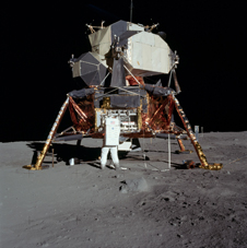 "Buzz Aldrin next to ""Eagle"", the Apollo 11 Lunar Module"